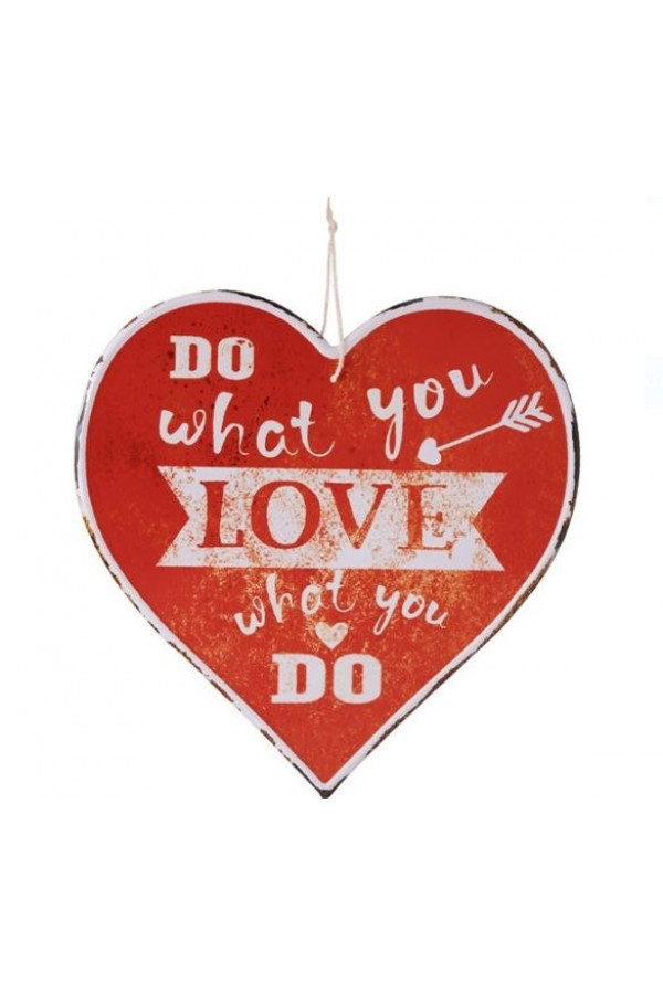 Agatatoare din metal decorativa, rosie, in forma de inima - Do what you love (30x30cm)